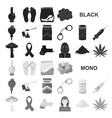 drug addiction and attributes black icons in set vector image