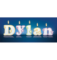 DYLAN written with burning candles vector image