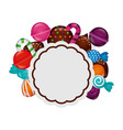 frame with sweet candies isolated icon vector image vector image