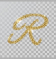 gold glitter powder letter r in hand painted style vector image vector image