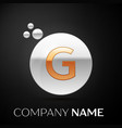 gold letter g logo silver dots splash and bubble vector image