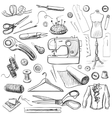 Hand drawn sewing icons set vector image vector image