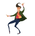 Hipster dancing in retro style jacket vector image vector image
