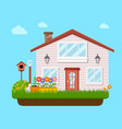 house backyard with garden flower vector image vector image