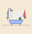 interior view on bathroom with shampoo and bath vector image vector image