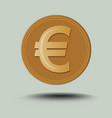 isolated euro symbol golden coin with transparent vector image vector image