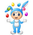 kids in rabbit costume with easter eggs flying vector image vector image