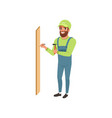 male professional carpenter hammering a nail in vector image