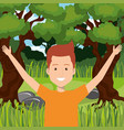 man celebrating in the jungle vector image