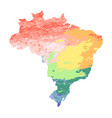 map of brazil with red orange yellow blue vector image vector image