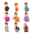 men covering their face with hands set people vector image vector image