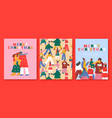 merry christmas card set happy holiday people vector image vector image