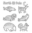 outline arctic animals set for coloring page vector image vector image