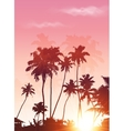 Pink sunset palms silhouettes poster background vector image