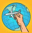 plane in hand metaphor flight to western vector image vector image