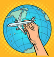 plane in hand metaphor of flight to the western vector image vector image