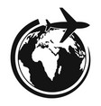 plane on earth icon simple style vector image vector image