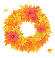 realistic autumn round frame with dahlia flowers vector image