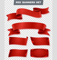 red paper banner transparent icon set vector image vector image