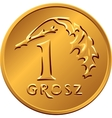 reverse Polish Money one Grosz copper coin vector image vector image