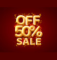 sale 50 off ballon number on red background vector image vector image