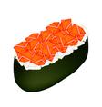 Salmon Sushi or Salmon Nigiri Isolated on White vector image