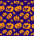 seamless pattern with orange halloween pumpkins vector image