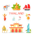 set icons with thailand national symbols vector image