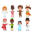 set of kids in christmas costumes vector image vector image