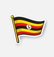 sticker national flag uganda vector image vector image
