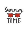 summer time lettering phrase with sunglass vector image