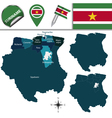 Suriname map with named divisions vector image vector image