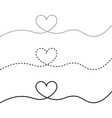 webcontinuous line drawing hearts love concept vector image