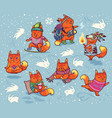 winter set of foxes characters in cartoon style vector image vector image
