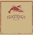 wodcut seafood icon vector image vector image