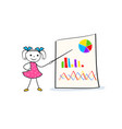 young cartoon girl pointing at board with graph vector image vector image