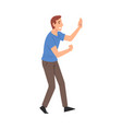 young man giving high five smiling guy greeting vector image vector image
