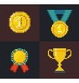 Pixel Awards and Trophy vector image