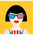 3d glasses and big popcorn brunet girl vector image