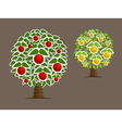 Abstract fruit trees vector image vector image