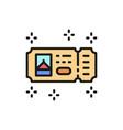 amusement park ticket flat color line icon vector image