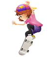 An energetic young lady skating vector image vector image