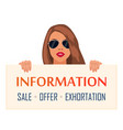 beautiful young woman holding a paper banner vector image