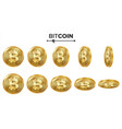 bitcoin 3d gold coins set realistic flip vector image vector image