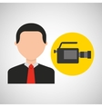 businessman movie camcorder icons vector image
