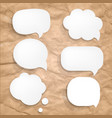 cardboard wrinkles texture and speech bubbles vector image vector image