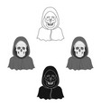 death icon in cartoonblack style isolated on vector image