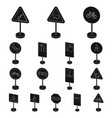 different types of road signs black icons in set vector image vector image
