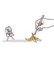 drawing big hand - cartoon walking man and banana vector image vector image