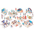 expo center trade show exhibition isometric stands vector image vector image